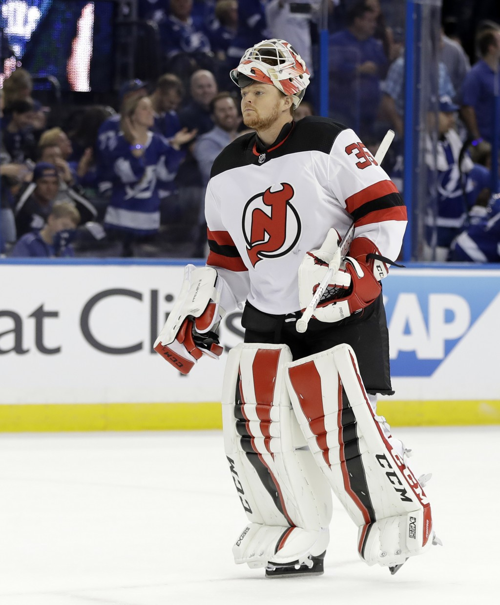 New Jersey Devils goaltender Cory Schneider (35) replaces Keith Kinkaid in the net during the second period of Game 2 of an NHL first-round hockey pla