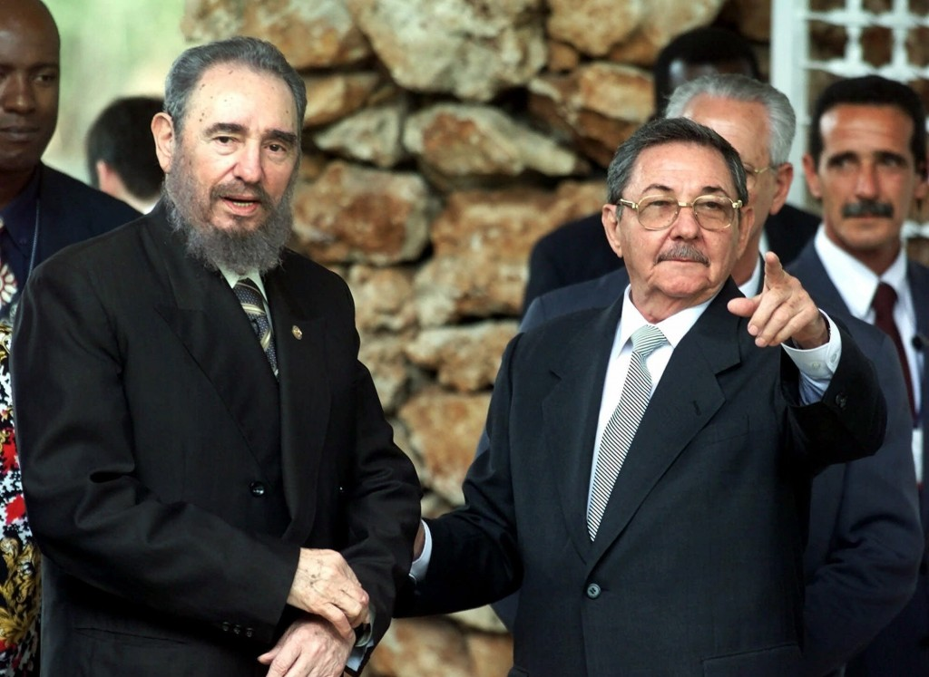 FILE - In this April 13, 2000 file photo, Cuban President Fidel Castro and his brother Raul Castro, first vice president and head of the Cuban Armed F