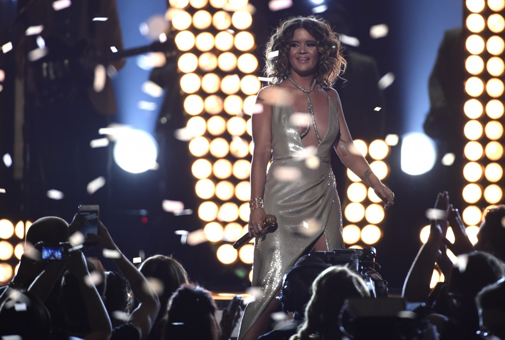 "Maren Morris performs ""Rich"" at the 53rd annual Academy of Country Music Awards at the MGM Grand Garden Arena on Sunday, April 15, 2018, in Las Vegas."