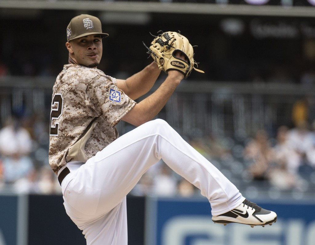 San Diego Padres starting pitcher Joey Lucchesi delivers during the first inning of a baseball game against the San Francisco Giants in San Diego, Sun