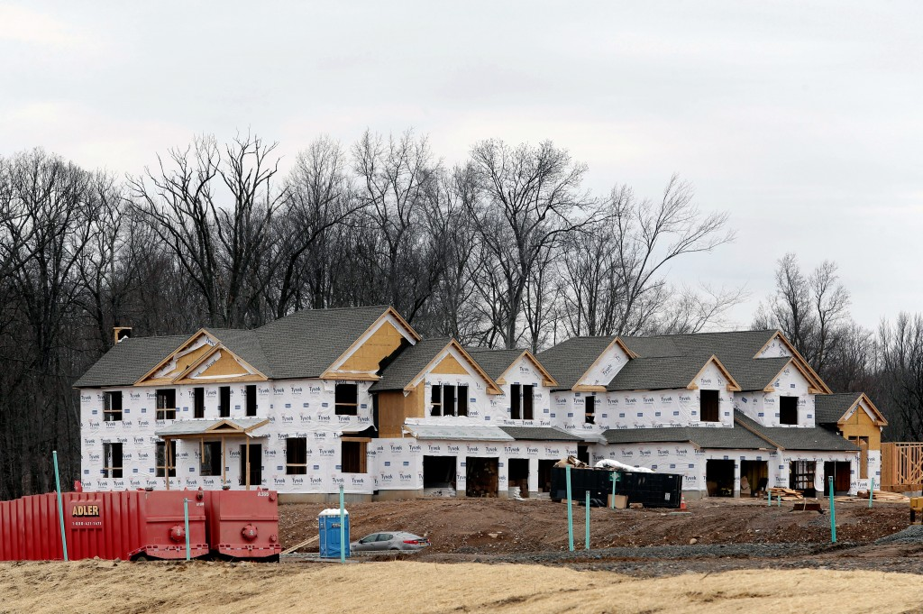 FILE- In this Feb. 26, 2018, file photo, work continues on a new development in Franklin Lakes, N.J. On Monday, April 16, the National Association of