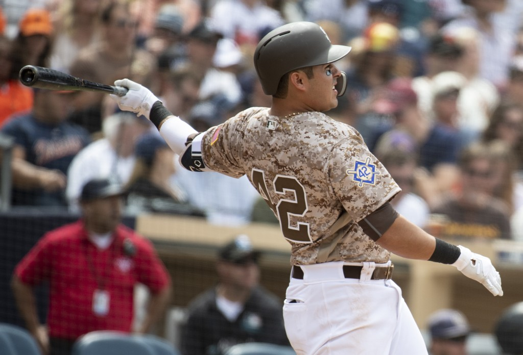 San Diego Padres' Christian Villanueva watches his solo home run during the fifth inning of a baseball game against the San Francisco Giants in San Di