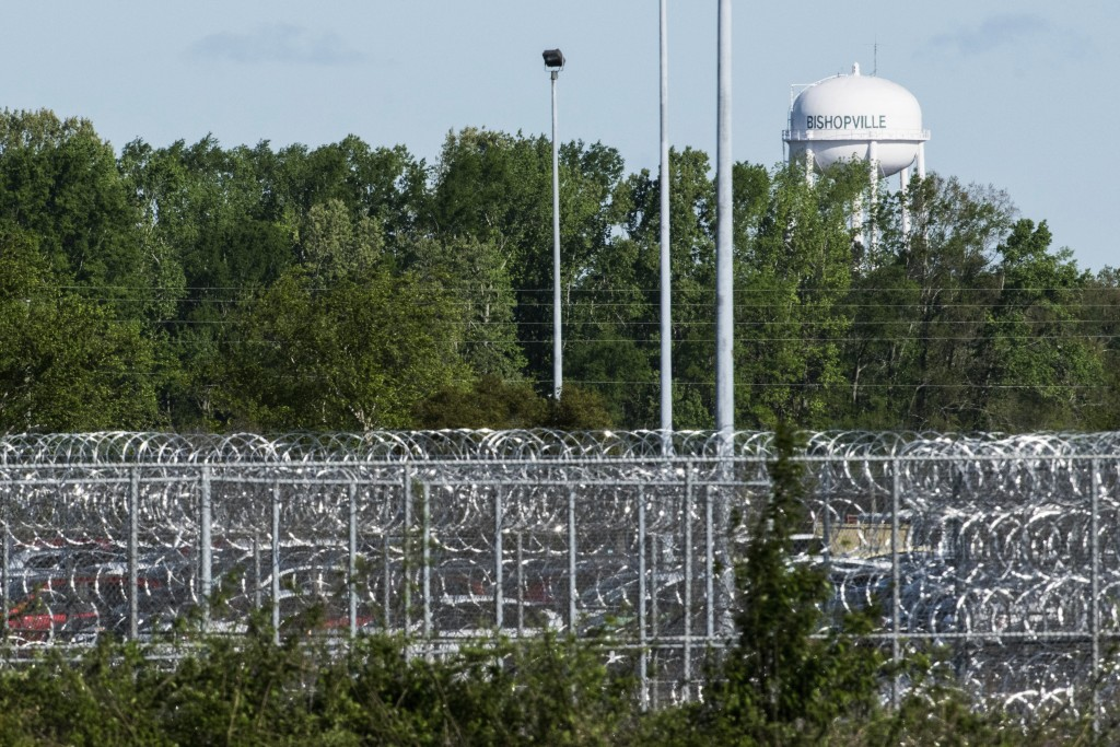 A fence surrounds the Lee Correctional Institution on Monday, April 16, 2018, in Bishopville, S.C. Multiple inmates were killed and others seriously i