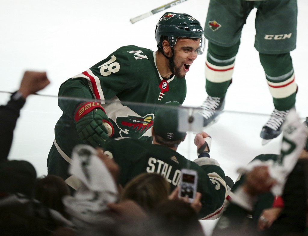 Minnesota Wild left wing Jordan Greenway (18) celebrates a goal against the Winnipeg Jets in the second period of Game 3 of an NHL first-round hockey