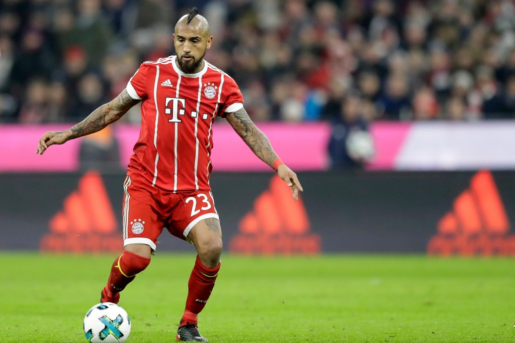 FILE - In this Nov. 18, 2017 file photo Bayern's Arturo Vidal controls the ball during the German Soccer Bundesliga match between FC Bayern Munich and