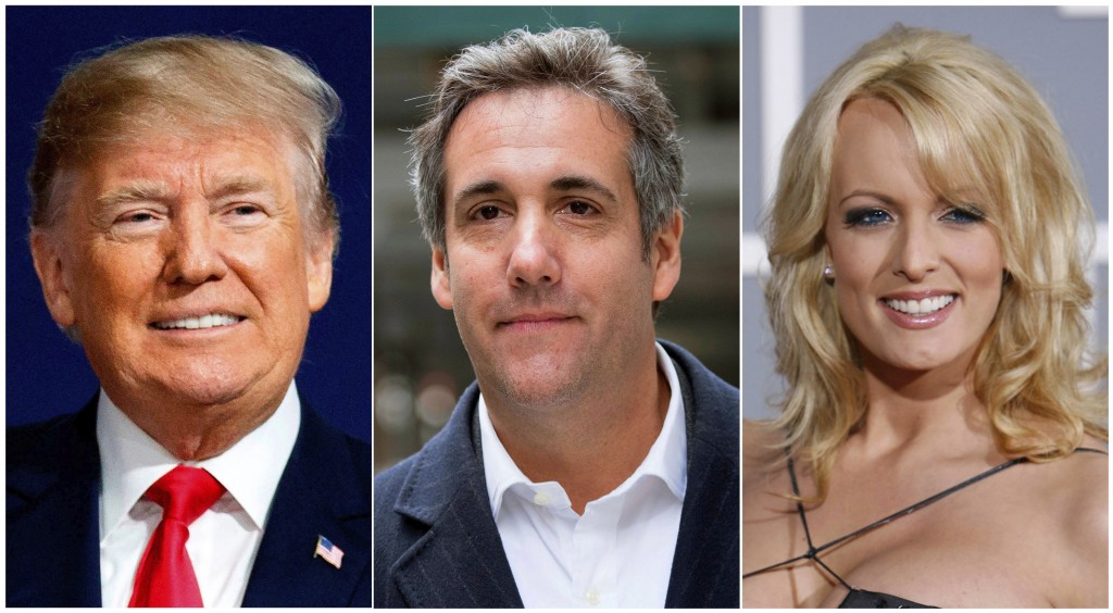 This combination photo shows, from left, President Donald Trump, attorney Michael Cohen and adult film actress Stormy Daniels. Cohen has been ordered