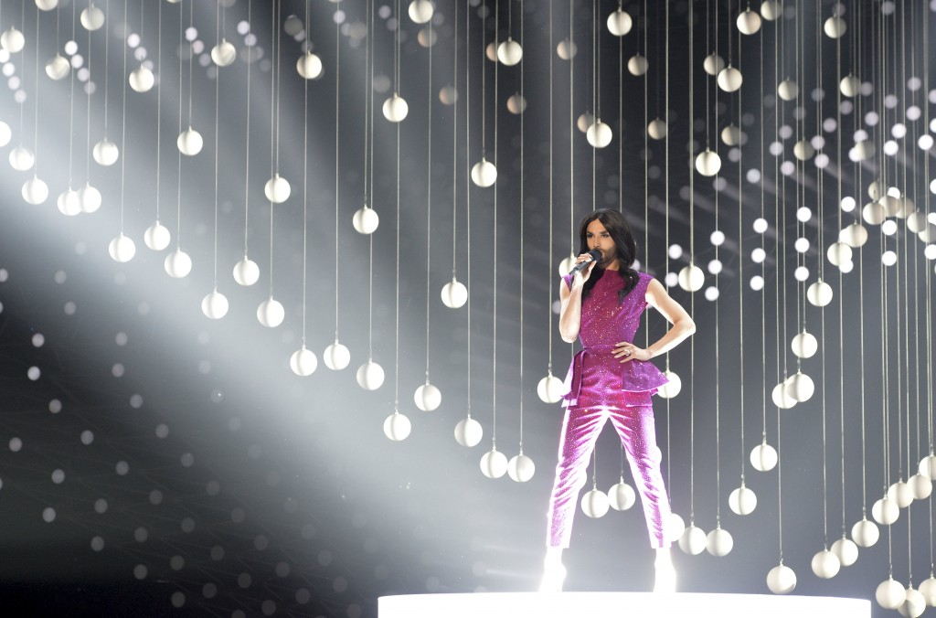FILE - In this May 22, 2015 file photo Austria singer Conchita Wurst, who won the 2014 ESC for Austria, performs on stage during a dress rehearsal for