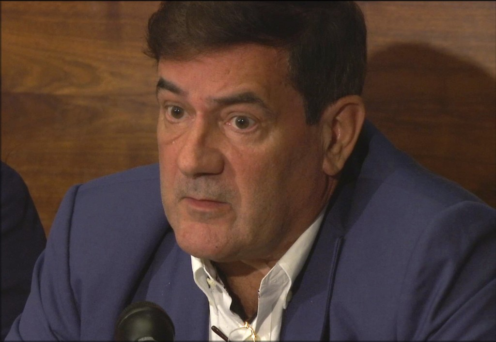 This Thursday, April 12, 2018 image from video, shows Herve Jaubert, a former agent of the French DGSE spy agency, speaking during a press conference