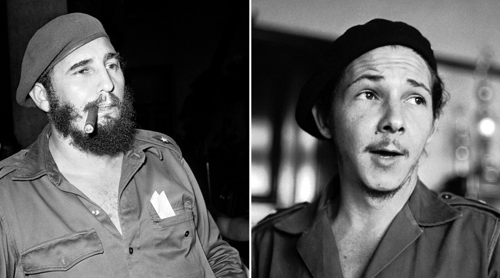 FILE - This combination of two file photos shows Fidel Castro smoking a cigar in Havana on April 29, 1961, left, and his brother Raul Castro, right, i