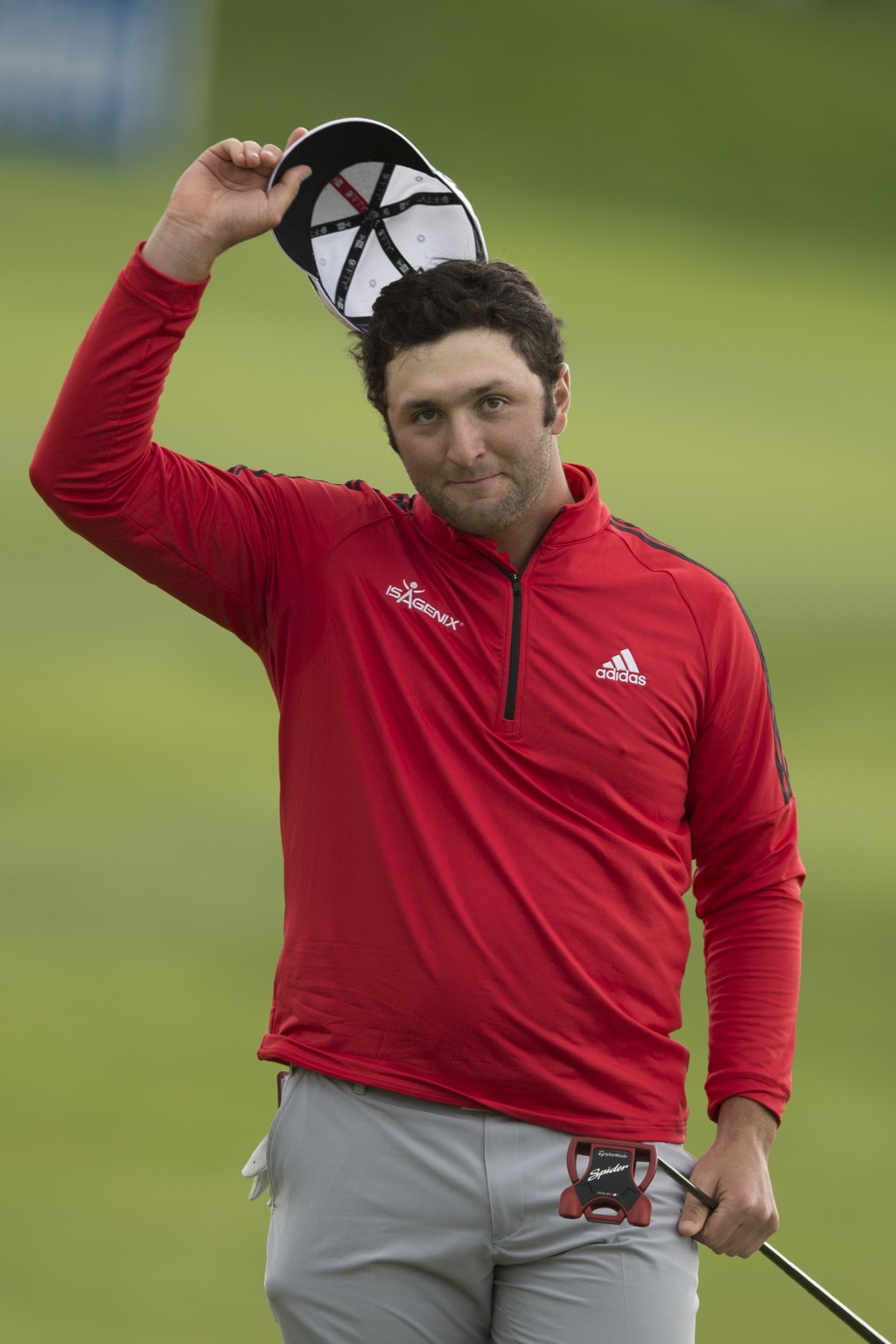 Spain's Jon Rahm celebrates after winning the Spanish Open Golf tournament in Madrid, Spain, Sunday, April 15, 2018. (AP Photo/Paul White)