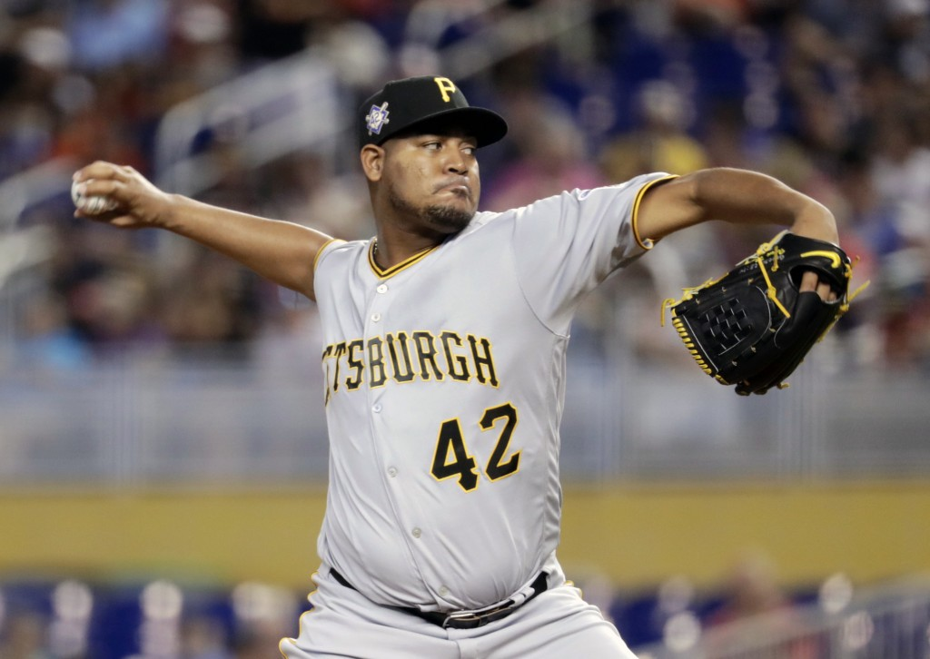 Pittsburgh Pirates starting pitcher Ivan Nova throws during the first inning of a baseball game against the Miami Marlins, Sunday, April 15, 2018, in