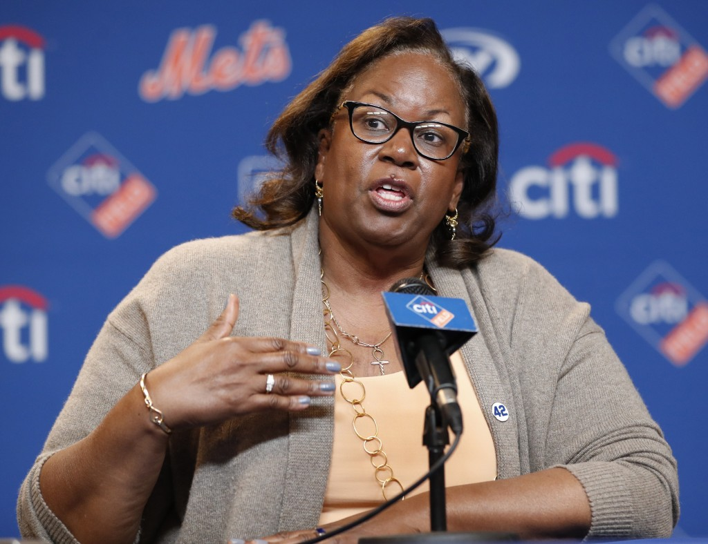 Sharon Robinson, daughter of Jackie Robinson, speaks to reporters before a baseball game between the New York Mets and the Milwaukee Brewers on Jackie