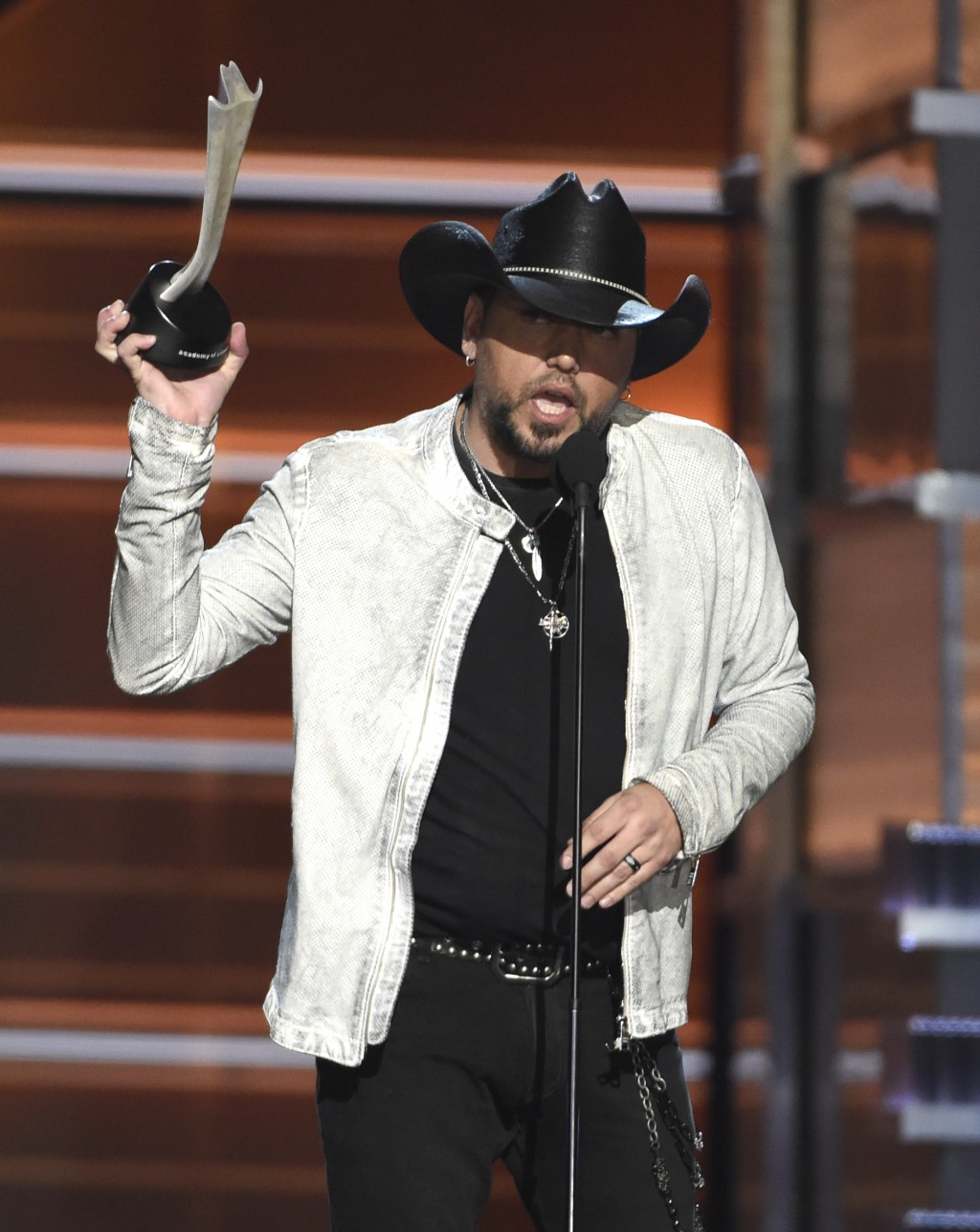 Jason Aldean accepts the award for entertainer of the year at the 53rd annual Academy of Country Music Awards at the MGM Grand Garden Arena on Sunday,