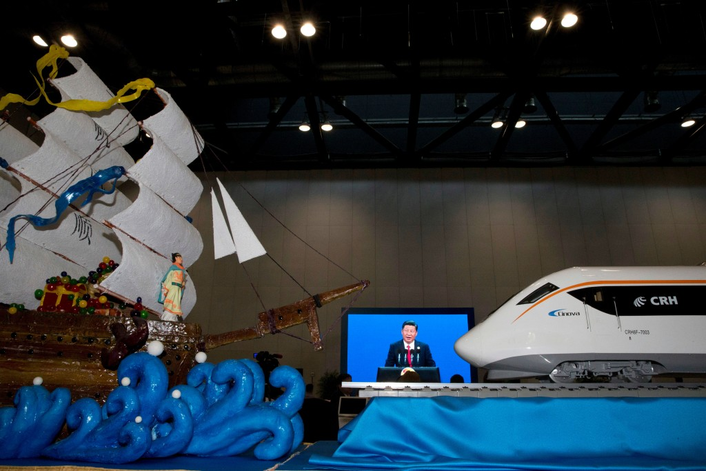 FILE - In this May 14, 2017, file photo, Chinese President Xi Jinping speaking at the opening of the Belt and Road Forum is displayed on a big screen