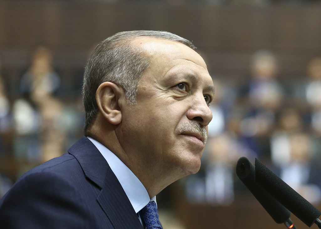Turkey's President Recep Tayyip Erdogan, delivers a speech at his ruling Justice and Development (AKP) Party weekly meeting in Ankara, Turkey, Tuesday