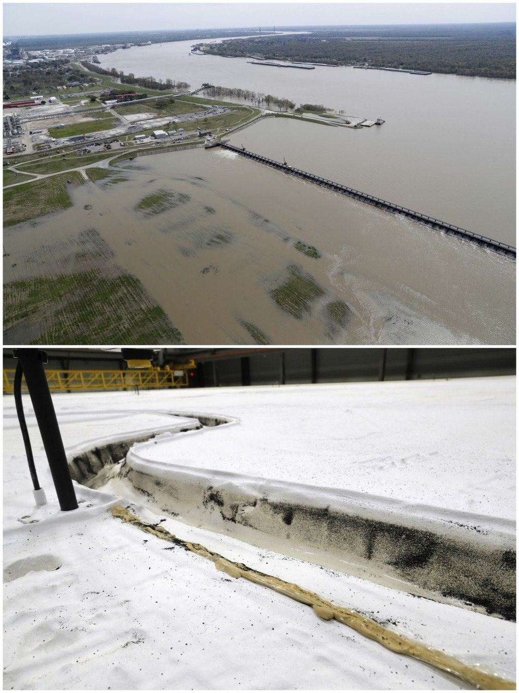 This combo of photos shows the opening of the Bonnet Carre spillway, above, a river diversion structure which diverts water from the rising Mississipp