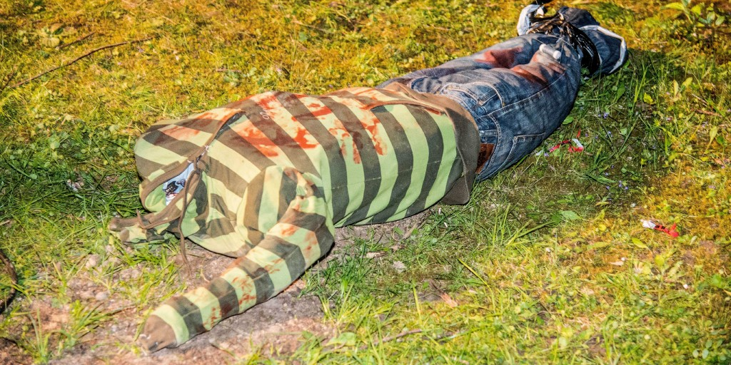 In this April 16, 2018 photo a headless doll sits on meadow near Weinstadt, southern Germany. The doll triggered a larger rescue operation since first