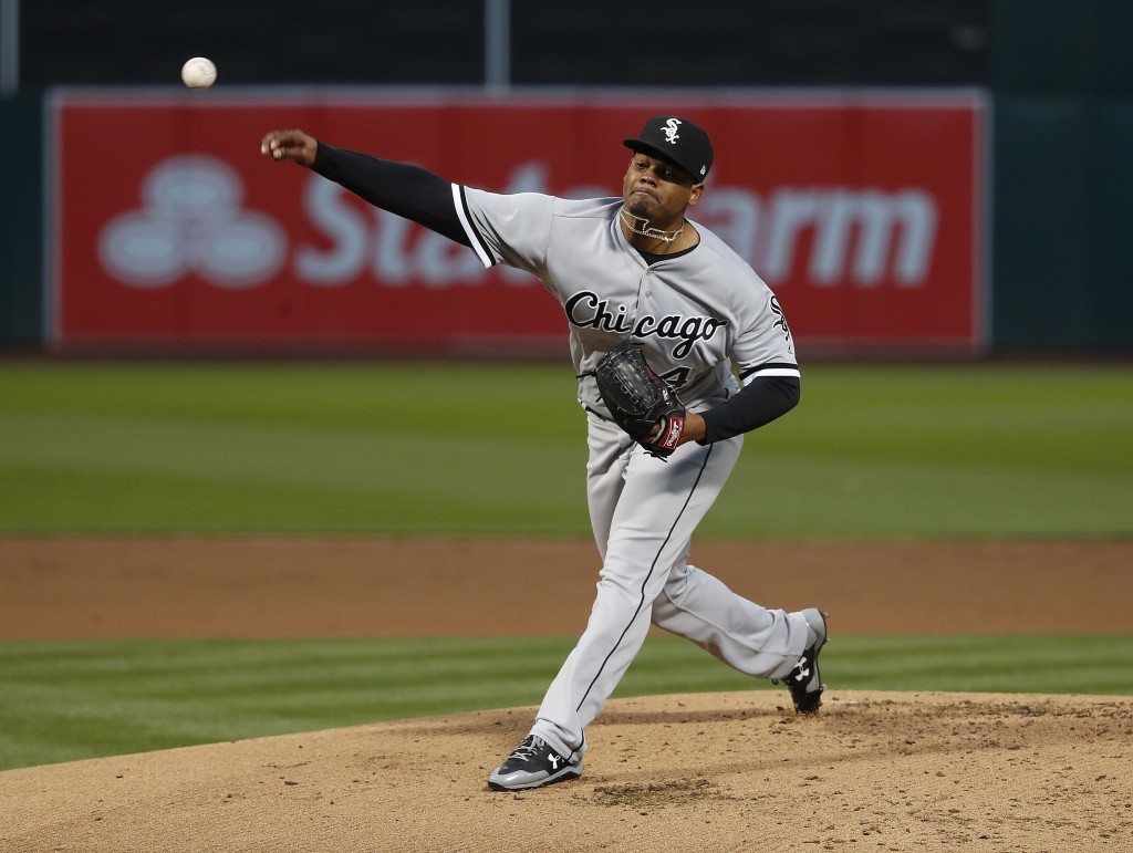 Chicago White Sox starting pitcher Reynaldo Lopez (40) works against the Oakland Athletics during the first inning of a baseball game Monday, April 16