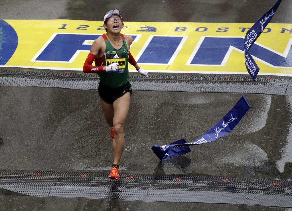 Yuki Kawauchi, of Japan, wins the 122nd Boston Marathon on Monday, April 16, 2018, in Boston. He is the first Japanese man to win the race since 1987.