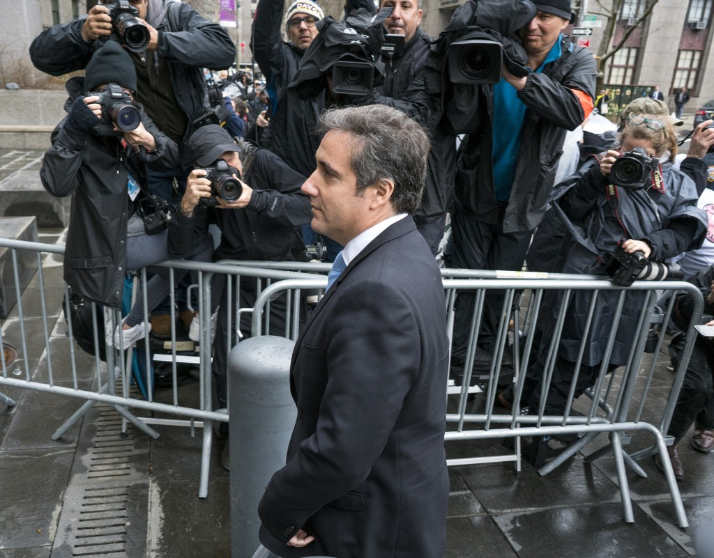 Michael Cohen, President Donald Trump's personal attorney, arrives for a hearing at federal court Monday, April 16, 2018, in New York. (AP Photo/Craig