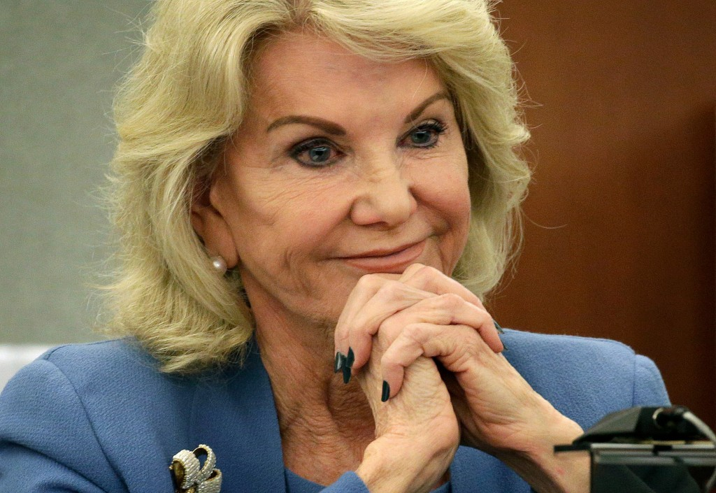 FILE - In this March 28, 2018, file photo, Elaine Wynn, ex-wife of Steve Wynn, listens during a hearing in Las Vegas. A six-year boardroom battle invo