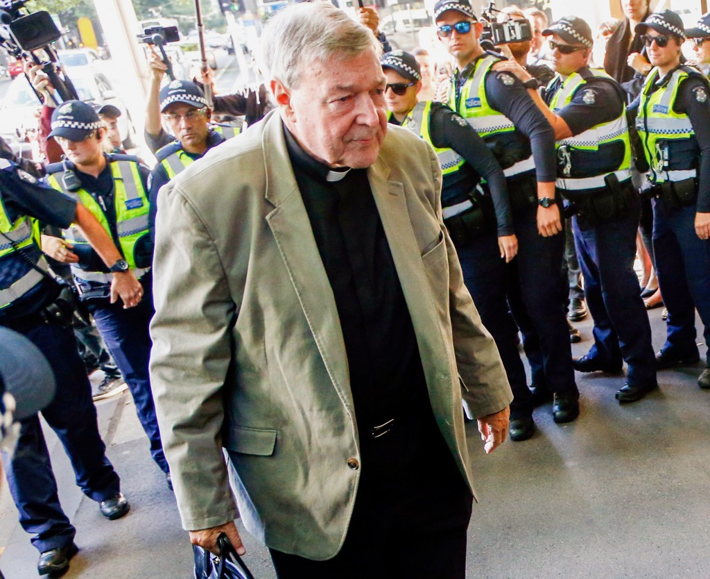 FILE - In this March 5, 2018, file photo, Cardinal George Pell arrives for a hearing at an Australian court in Melbourne, Australia. A lawyer for the