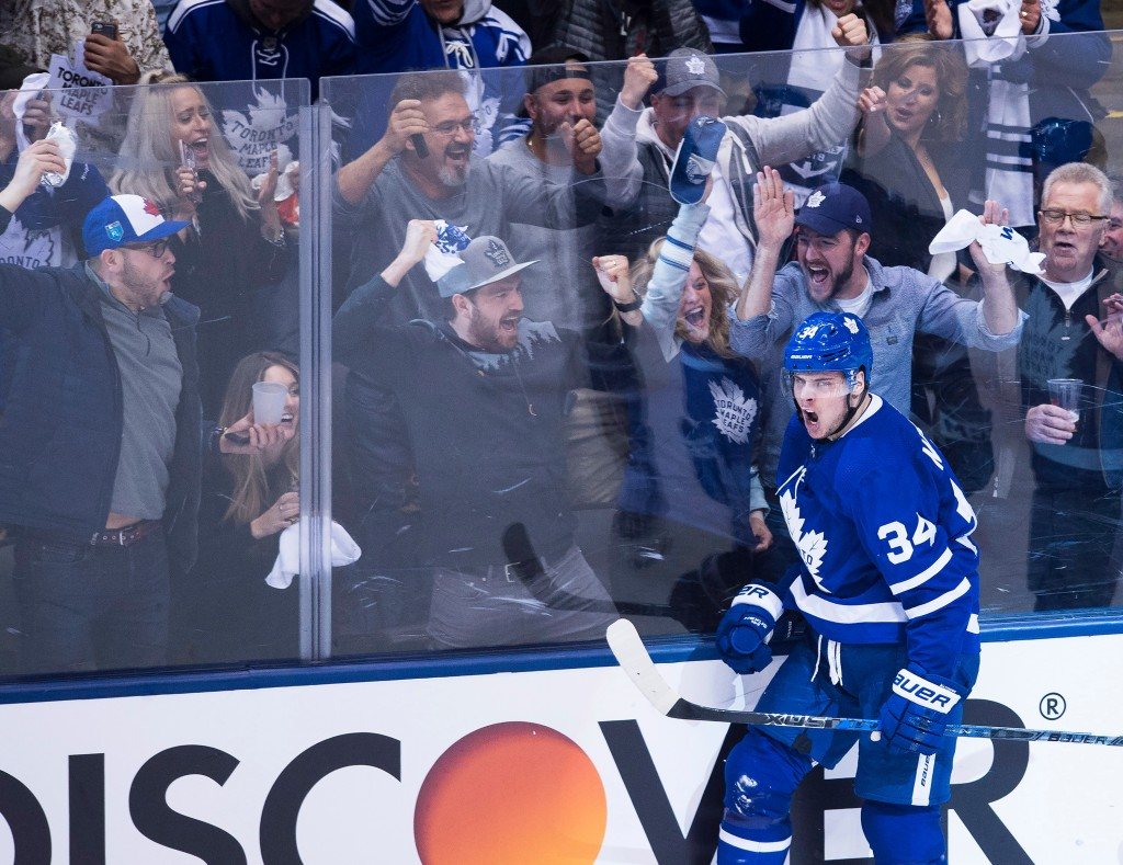 Toronto Maple Leafs center Auston Matthews (34) reacts after scoring against the Boston Bruins during second period NHL, round one playoff hockey acti