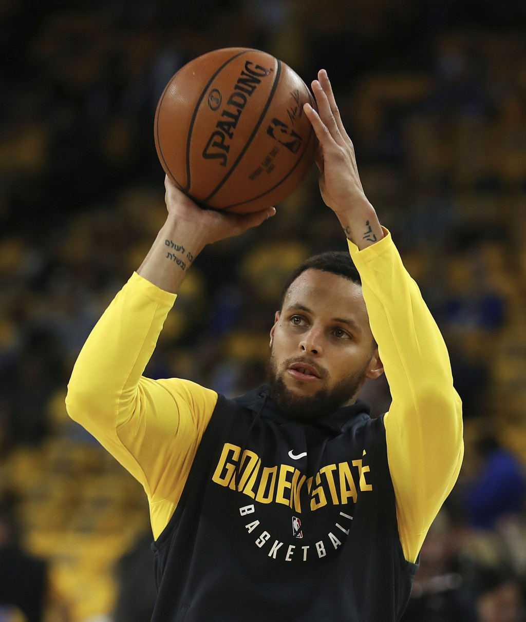 be0aa7fadfe6 Golden State Warriors  Stephen Curry warms up prior to Game 2 of a first-