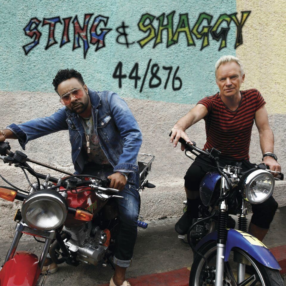 "This cover image released by A&M/Interscope Records shows ""44/876,"" a release by Sting and Shaggy. (A&M/Interscope Records via AP)"