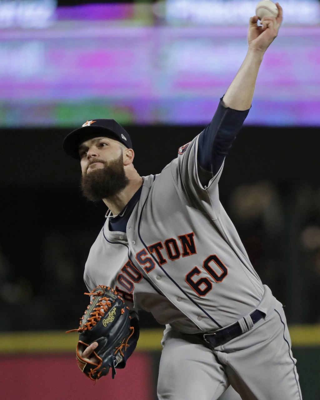 Houston Astros starting pitcher Dallas Keuchel throws against the Seattle Mariners during the fourth inning of a baseball game, Monday, April 16, 2018
