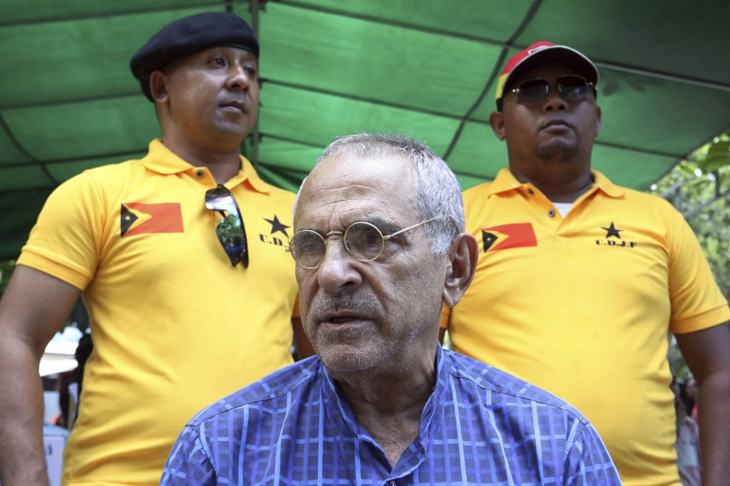 In this Saturday, April 14, 2018, photo, Nobel peace prize laureate and former East Timorese President Jose Ramos-Horta talks to journalists in Dili,