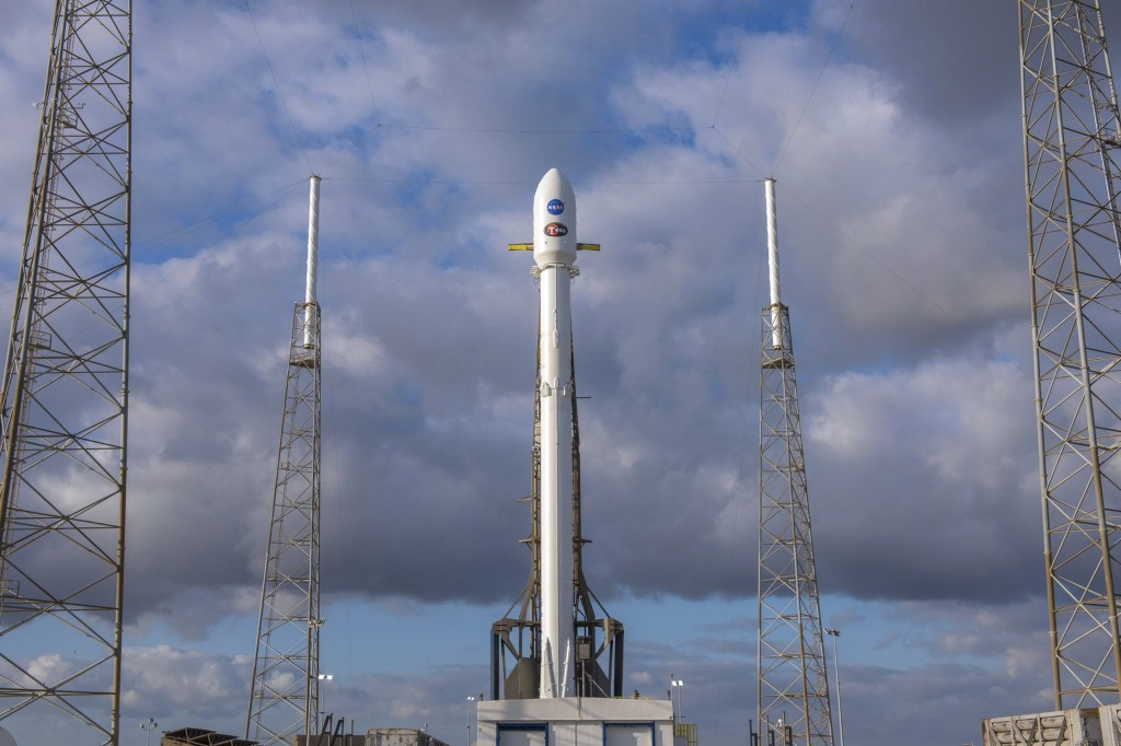 In this image released by SpaceX, NASA' s Transiting Exoplanet Survey Satellite (Tess) sits atop a SpaceX Falcon 9 rocket at Space Launch Complex 40,