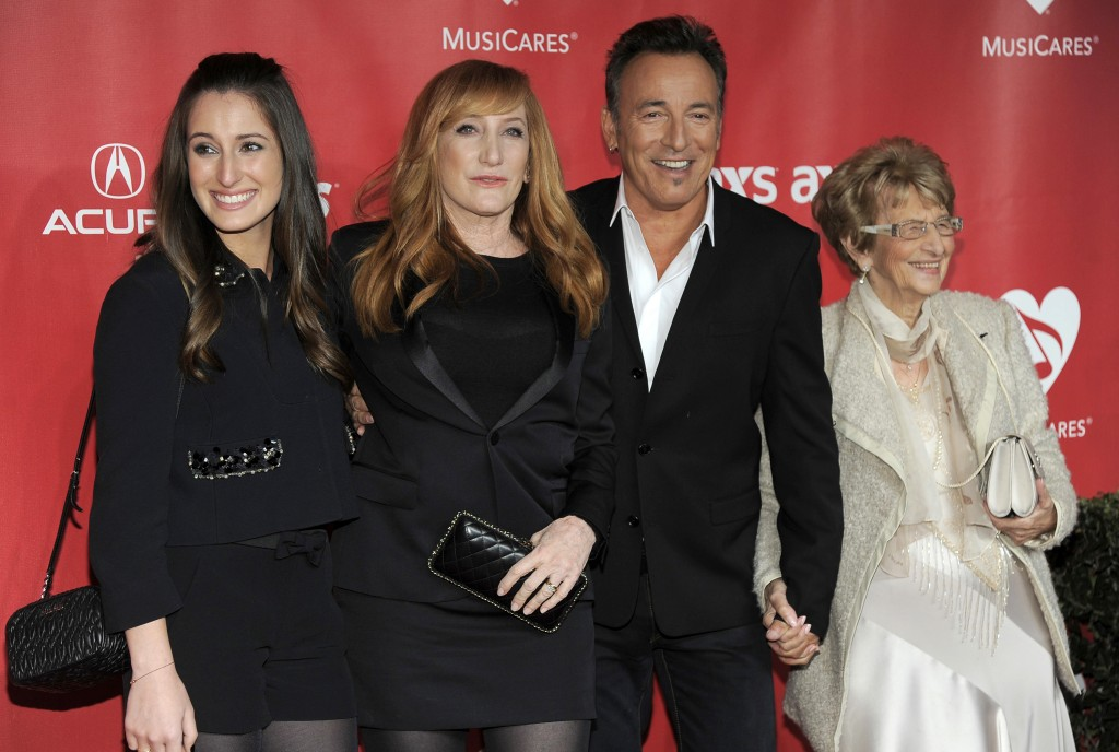 FILE - In this Feb. 8, 2013 file photo, from left, Jessica Rae Springsteen, Patti Scialfa, honoree Bruce Springsteen, and Adele Springsteen arrive at