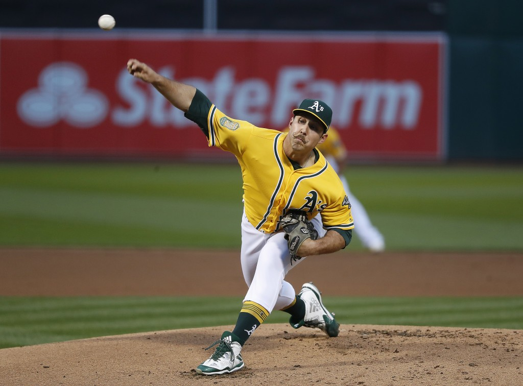 Oakland Athletics starting pitcher Daniel Mengden (33) works against the Chicago White Sox during the first inning of a baseball game Monday, April 16