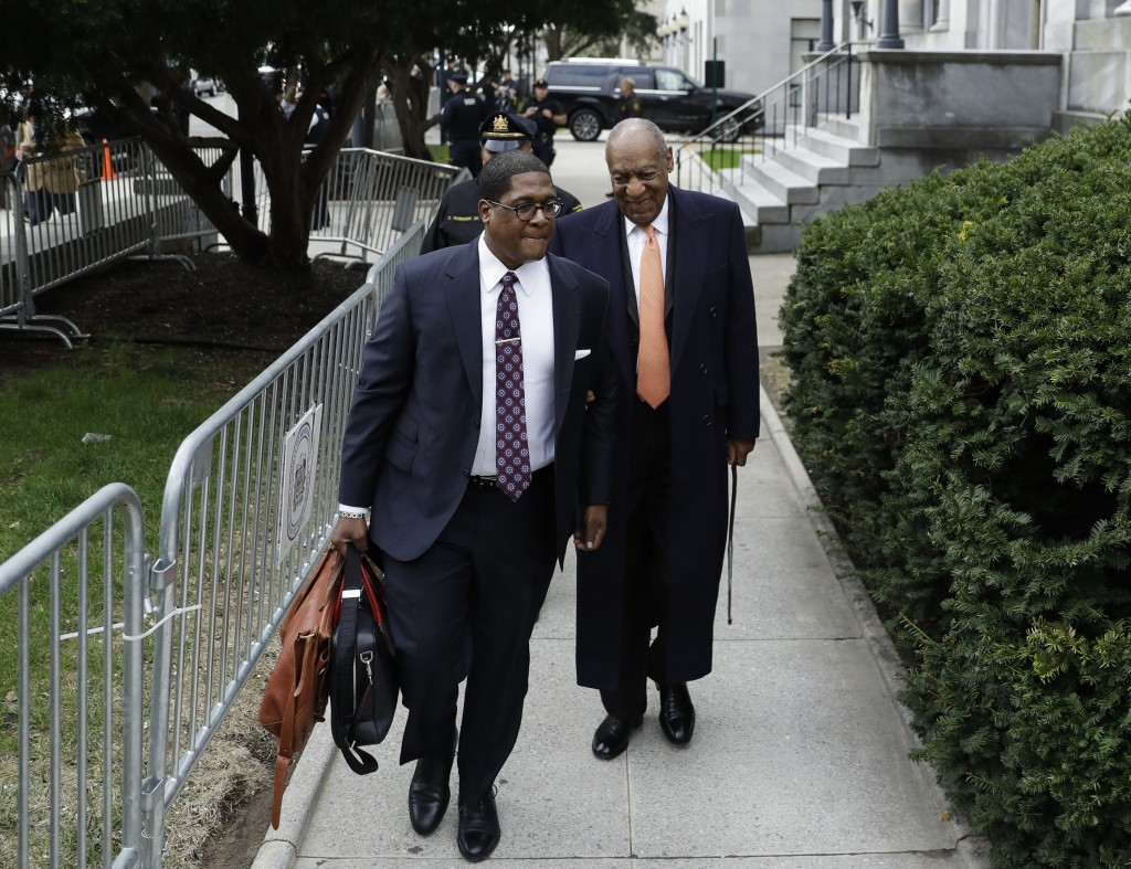 Bill Cosby, right, arrives for his sexual assault trial, Tuesday, April 17, 2018, at the Montgomery County Courthouse in Norristown, Pa. (AP Photo/Mat