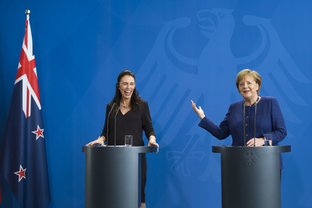 German Chancellor Angela Merkel, right, and the Prime Minister of New Zealand Jacinda Ardern, left, brief the media after a meeting at the chancellery