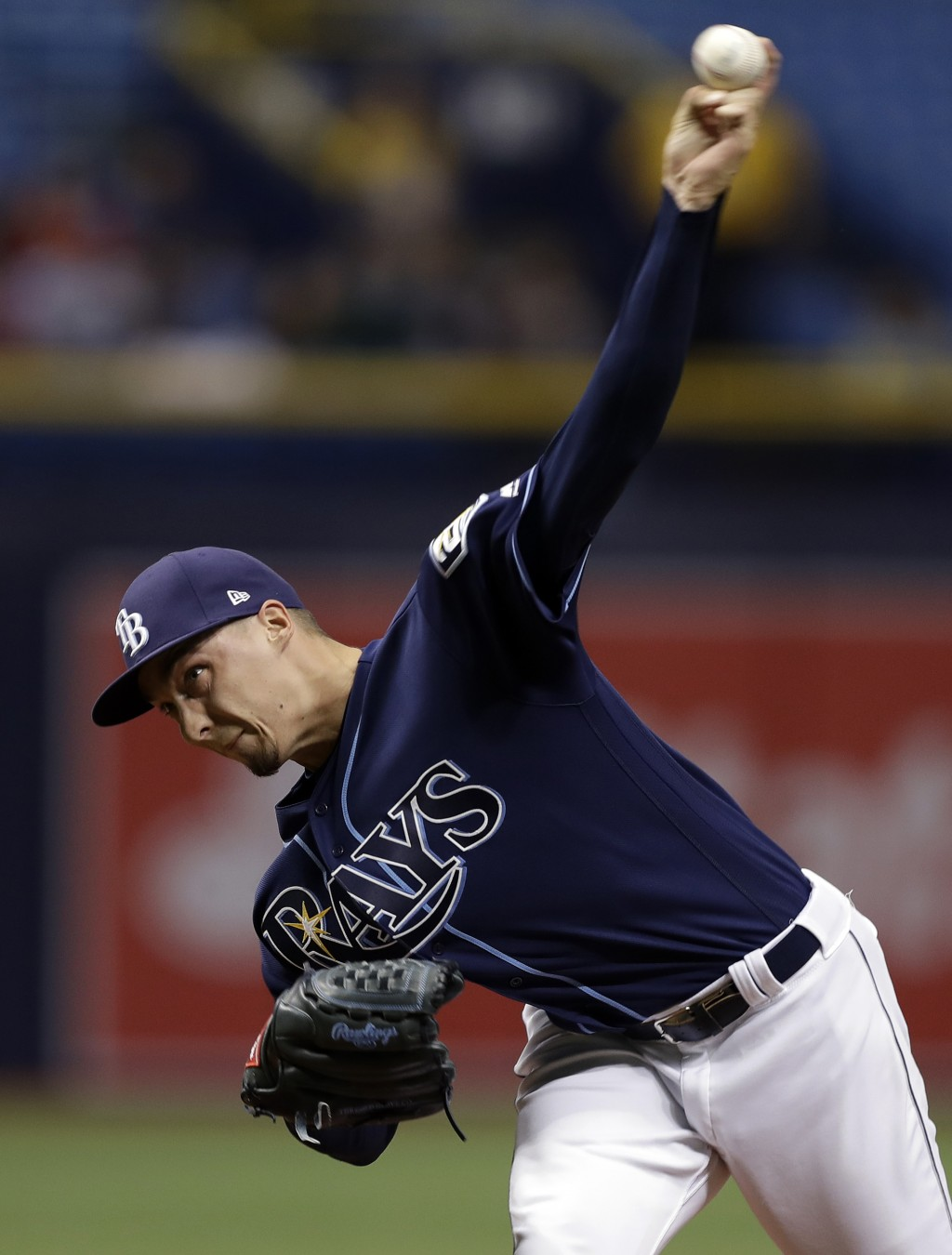 Tampa Bay Rays' Blake Snell pitches to the Texas Rangers during the first inning of a baseball game Monday, April 16, 2018, in St. Petersburg, Fla. (A