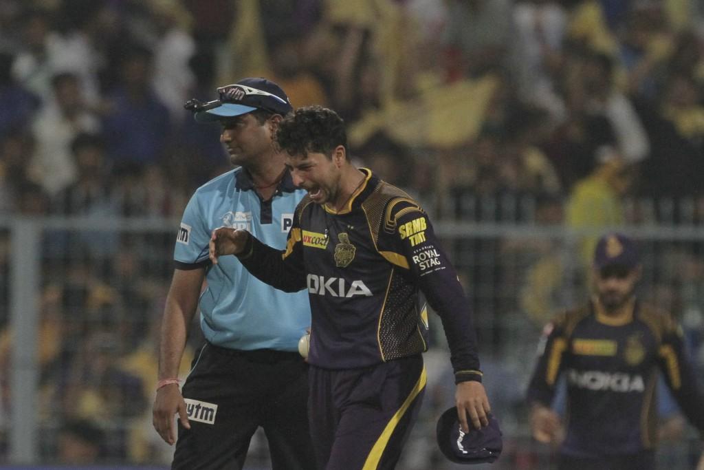 Kolkata Night Riders' Kuldeep Yadav reacts after taking the wicket of Delhi Daredevils' Trent Boult during VIVO IPL cricket T20 match in Kolkata, Indi