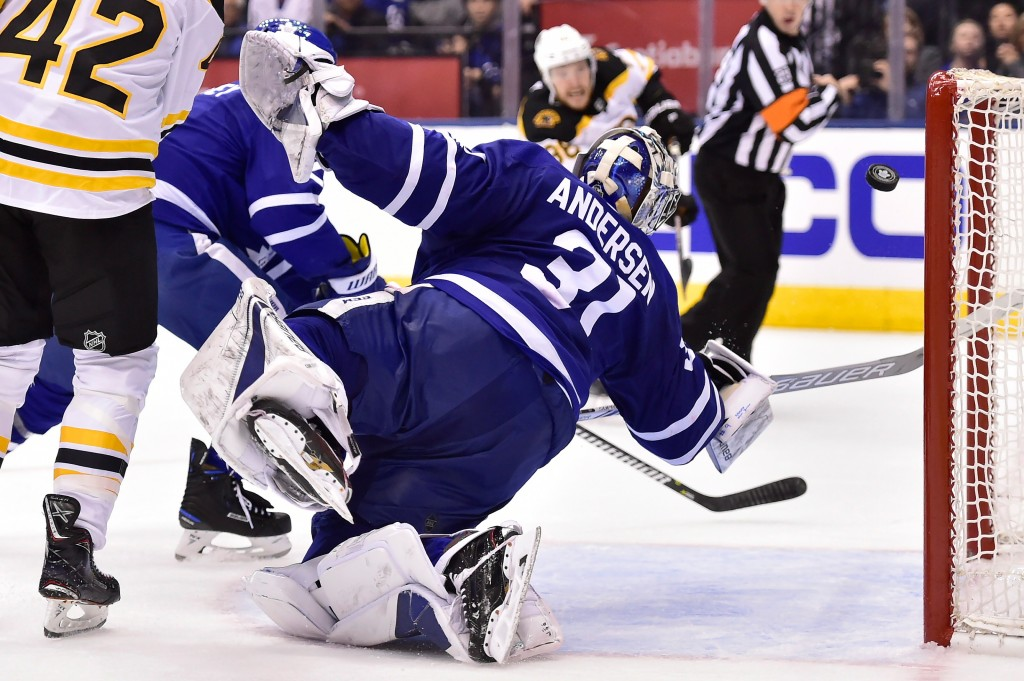 Toronto Maple Leafs goaltender Frederik Andersen (31) makes a big save during third period NHL round one playoff hockey action against the Boston Brui