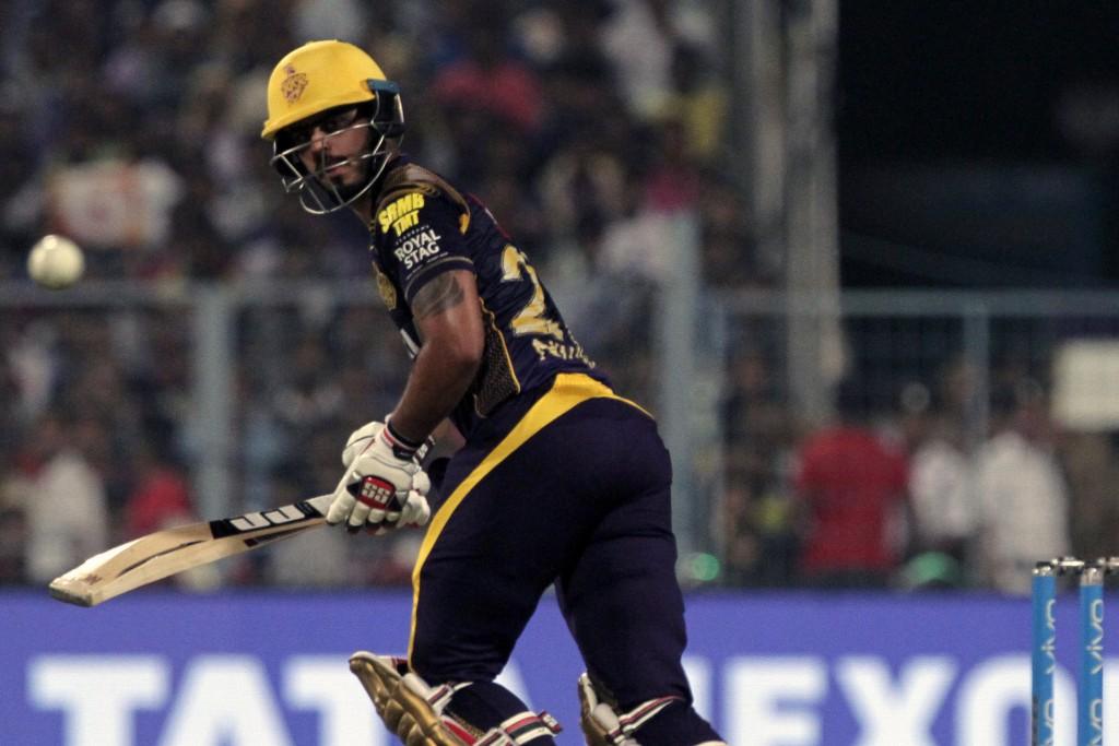 Kolkata Night Riders' Nitish Rana looks as he take a shot during VIVO IPL cricket T20 match against Delhi Daredevils in Kolkata, India, Monday, April