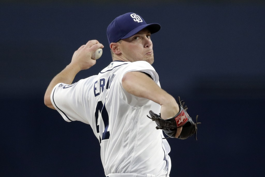 San Diego Padres starting pitcher Robbie Erlin pitches to a Los Angeles Dodgers batter during the first inning of a baseball game Monday, April 16, 20