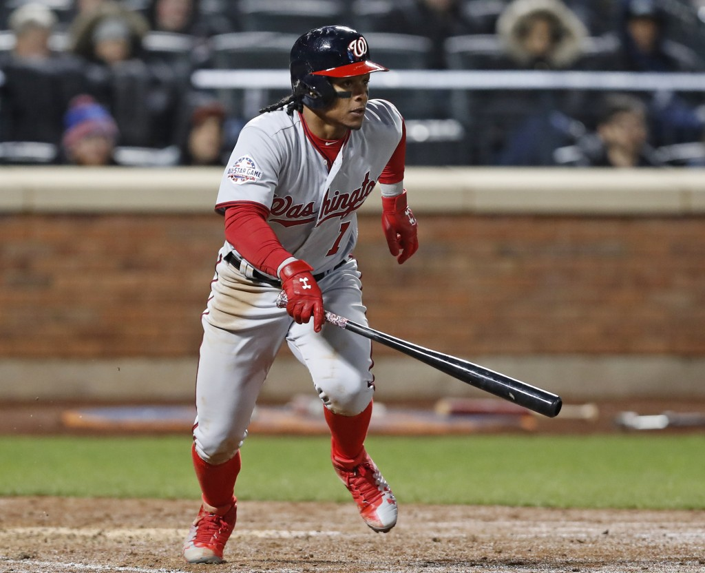 Washington Nationals' Wilmer Difo (1) runs on his eighth-inning, two-run single in a baseball game against the Washington Nationals, Monday, April 16,
