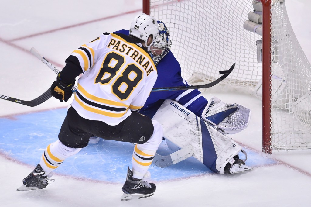 Toronto Maple Leafs goaltender Frederik Andersen (31) makes a save on Boston Bruins right wing David Pastrnak (88)during third period NHL round one pl