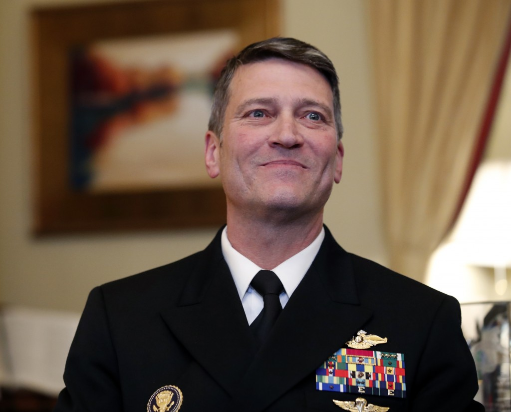 U.S. Navy Rear Adm. Ronny Jackson, M.D., left, sits with Sen. Johnny Isakson, R-Ga., chairman of the Veteran's Affairs Committee, before their meeting