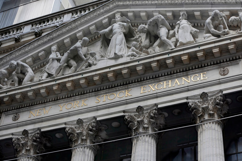 FILE- In this April 5, 2018, file photo, the facade of the New York Stock Exchange is shown. The U.S. stock market opens at 9:30 a.m. EDT on Tuesday,