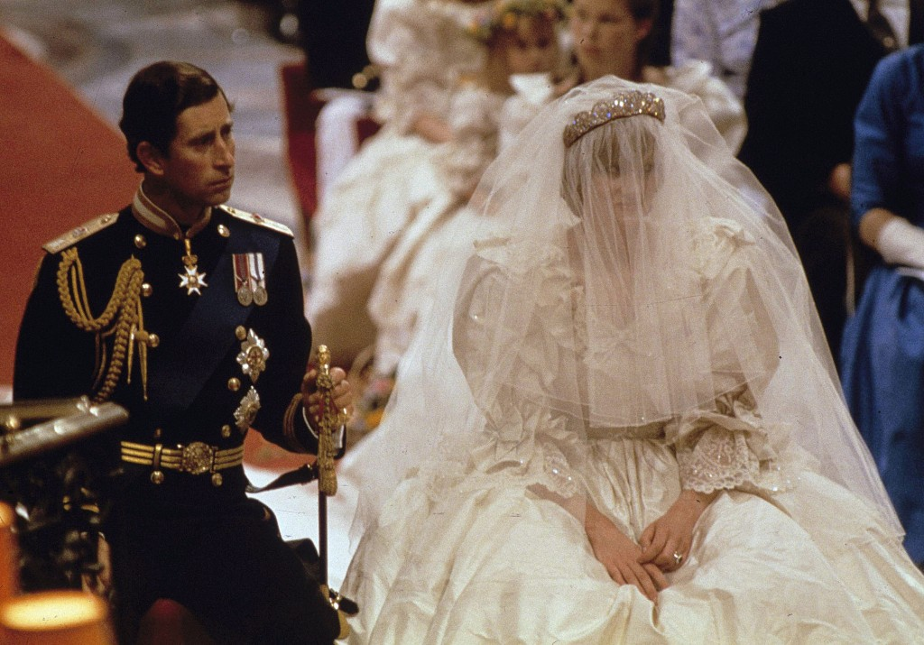 FILE - In this July 29, 1981 file photo, Britain's Prince Charles and Lady Diana Spencer are shown on their wedding day at St. Paul's Cathedral in Lon...