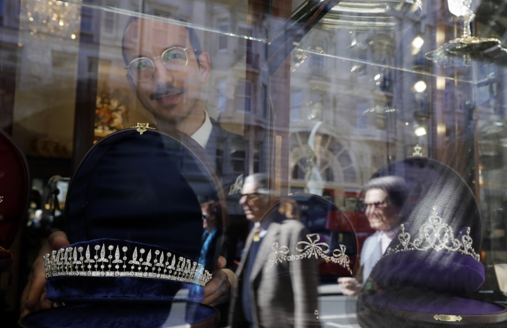 In this photo taken on Thursday, April 5, 2018, Ilias Kapsalis Skoufos displays a late Victorian diamond fringe tiara circa 1890 in the window at Brad...