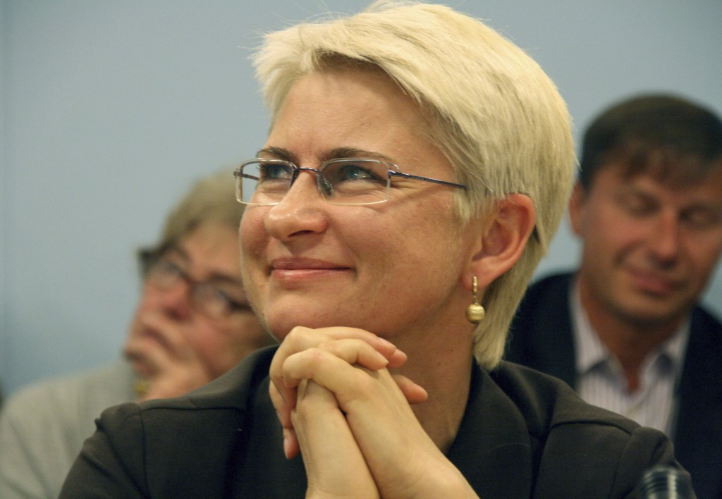 This 2012 photo provided by Juozas Valiušaitis shows Neringa Venckiene in Lithuania. Venckiene, a former Lithuanian judge and parliamentarian jailed i...