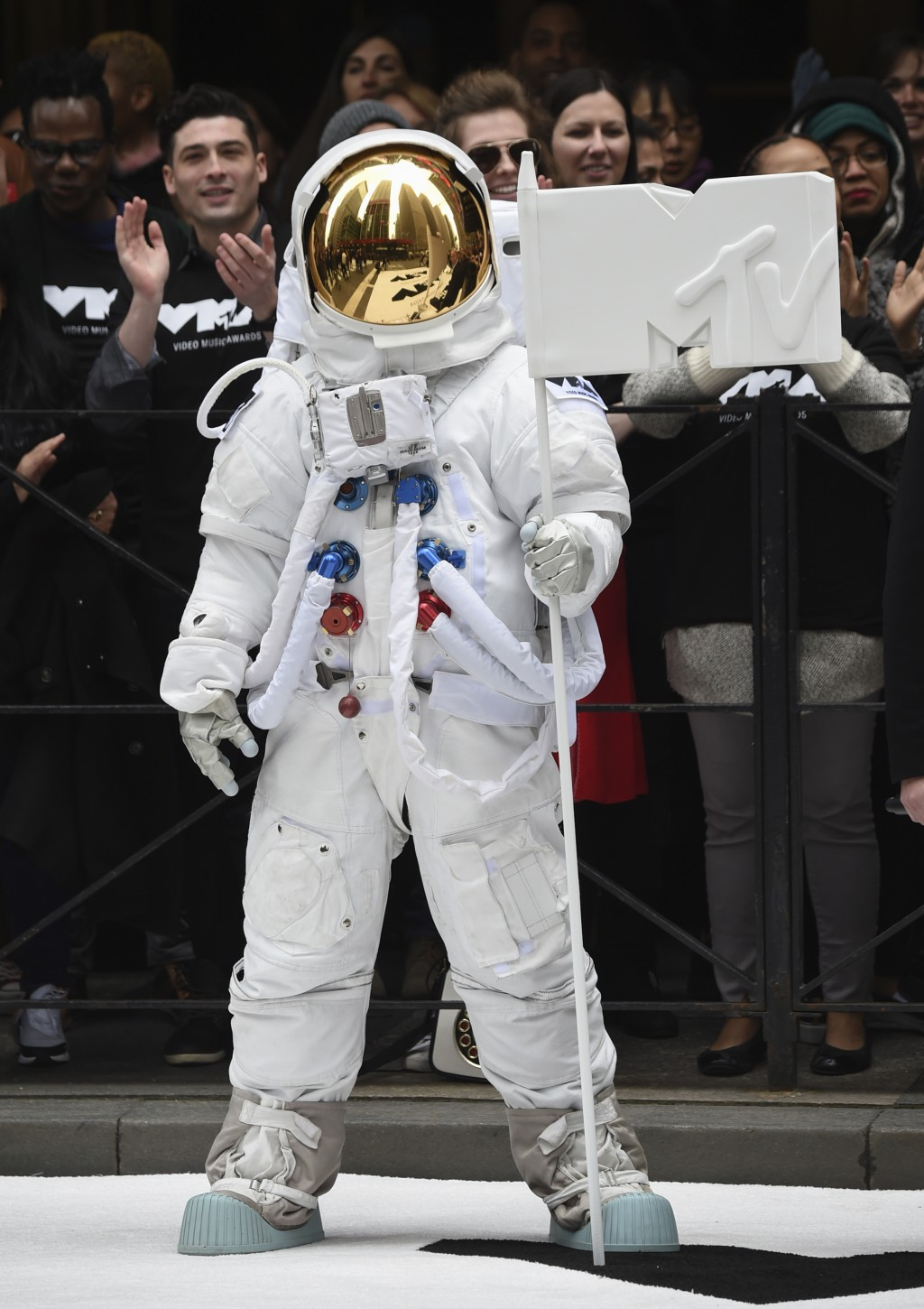 """The VMA """"Moon Person"""" participates in the 2018 MTV Video Music Awards date and location announcement at Radio City Music Hall on Tuesday, April 17, 20"""