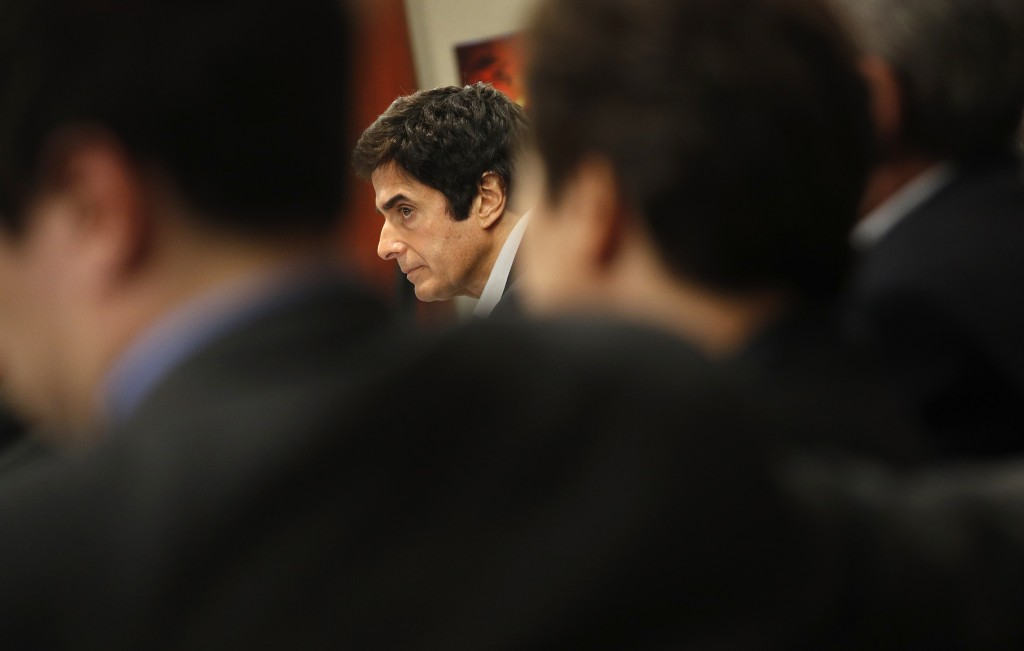 Illusionist David Copperfield appears in court Wednesday, April 18, 2018, in Las Vegas. Copperfield testified in a negligence lawsuit involving a Brit...